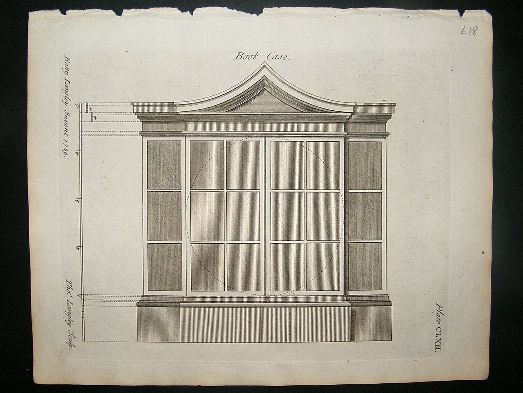 Architectural print bookcase drawings 1741 langley for Print architectural drawings